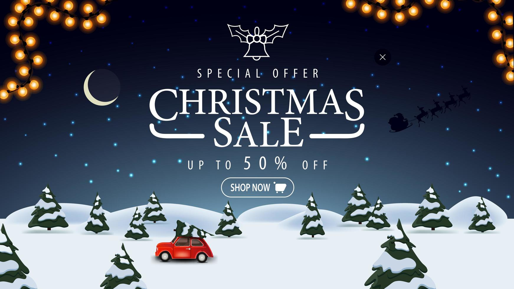 Sonderangebot, Weihnachtsverkauf, bis zu 50 Rabatt, blaues Rabattbanner mit Nachtwinterlandschaft auf Hintergrund, Sternenhimmel und rotem Oldtimer mit Weihnachtsbaum vektor