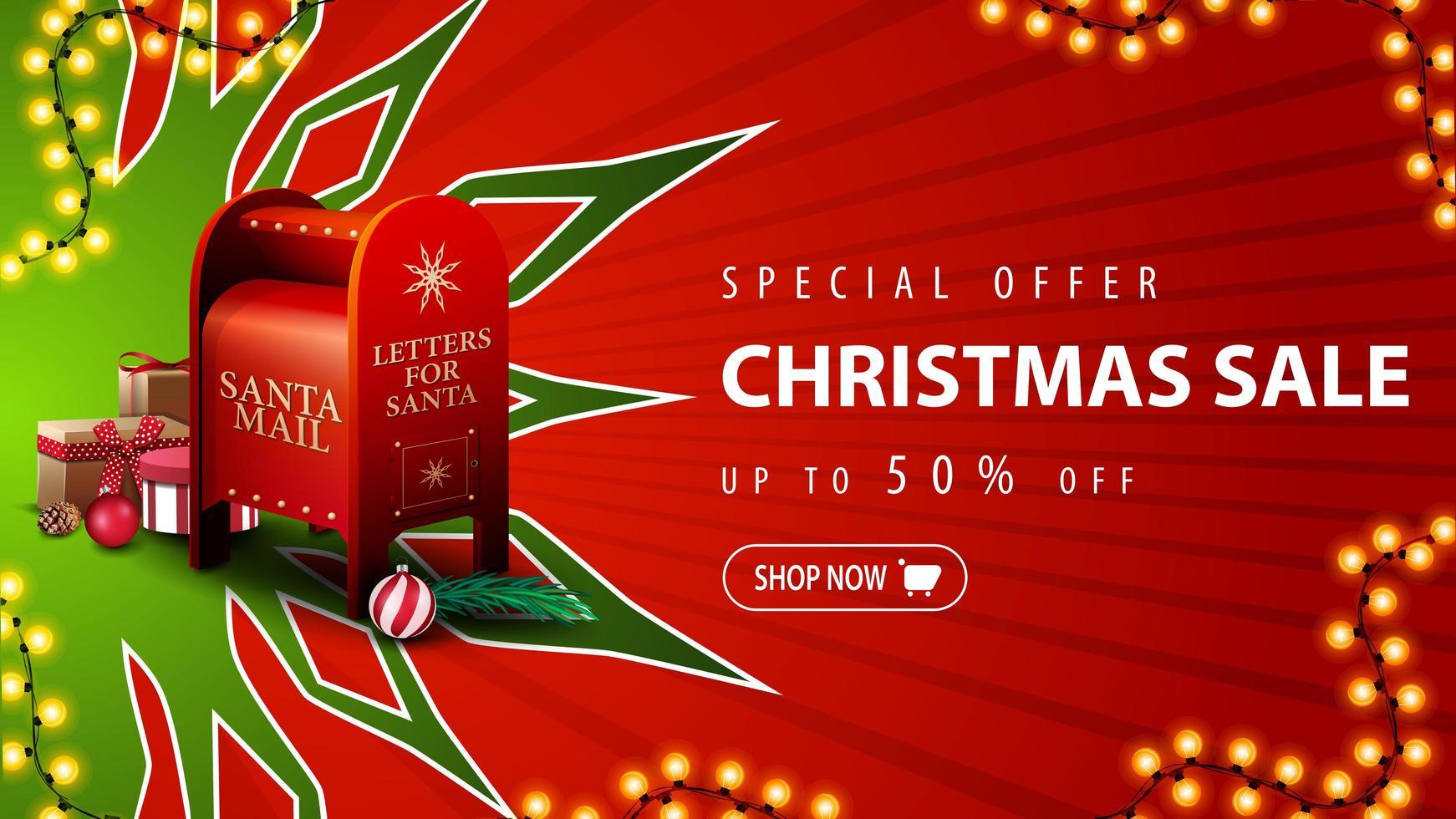 specialerbjudande, julförsäljning, upp till 50 rabatt, röd rabattbanner med stor grön snöflinga och santa brevlåda med presenter vektor