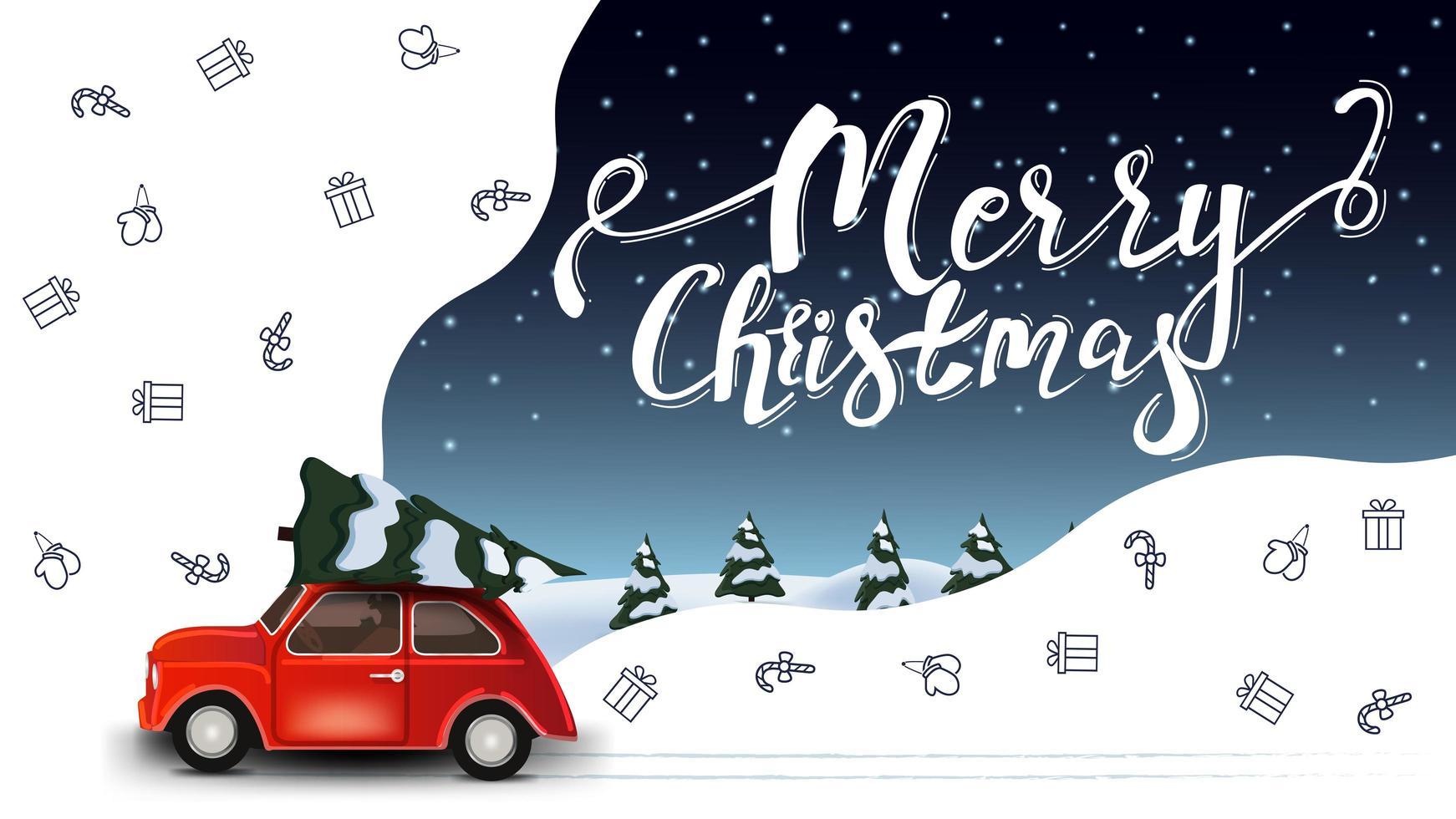 god jul, vackert vitt och blått hälsningsvykort med röd veteranbil som bär julgran- och jullinjeikoner, rymdfantasi vektor