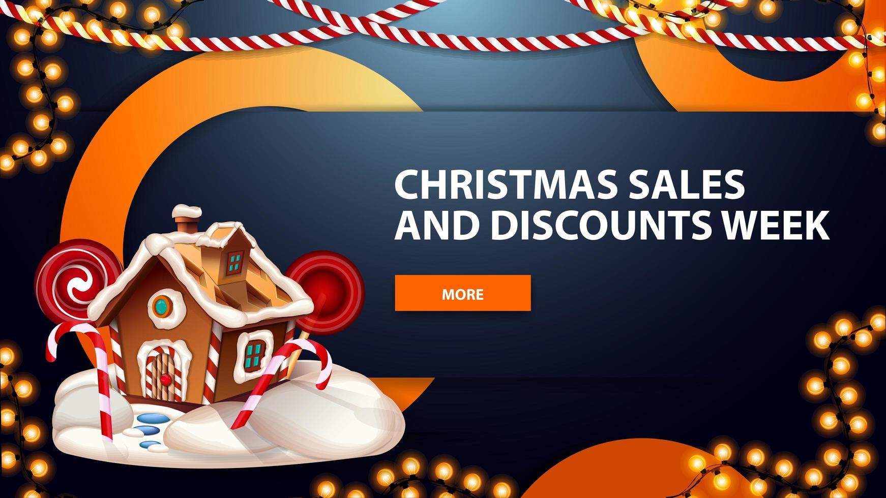 julförsäljning och rabattvecka, blå horisontell modern webbbanner med knapp, kransar, dekorativa ringar och pepparkakshus för jul vektor