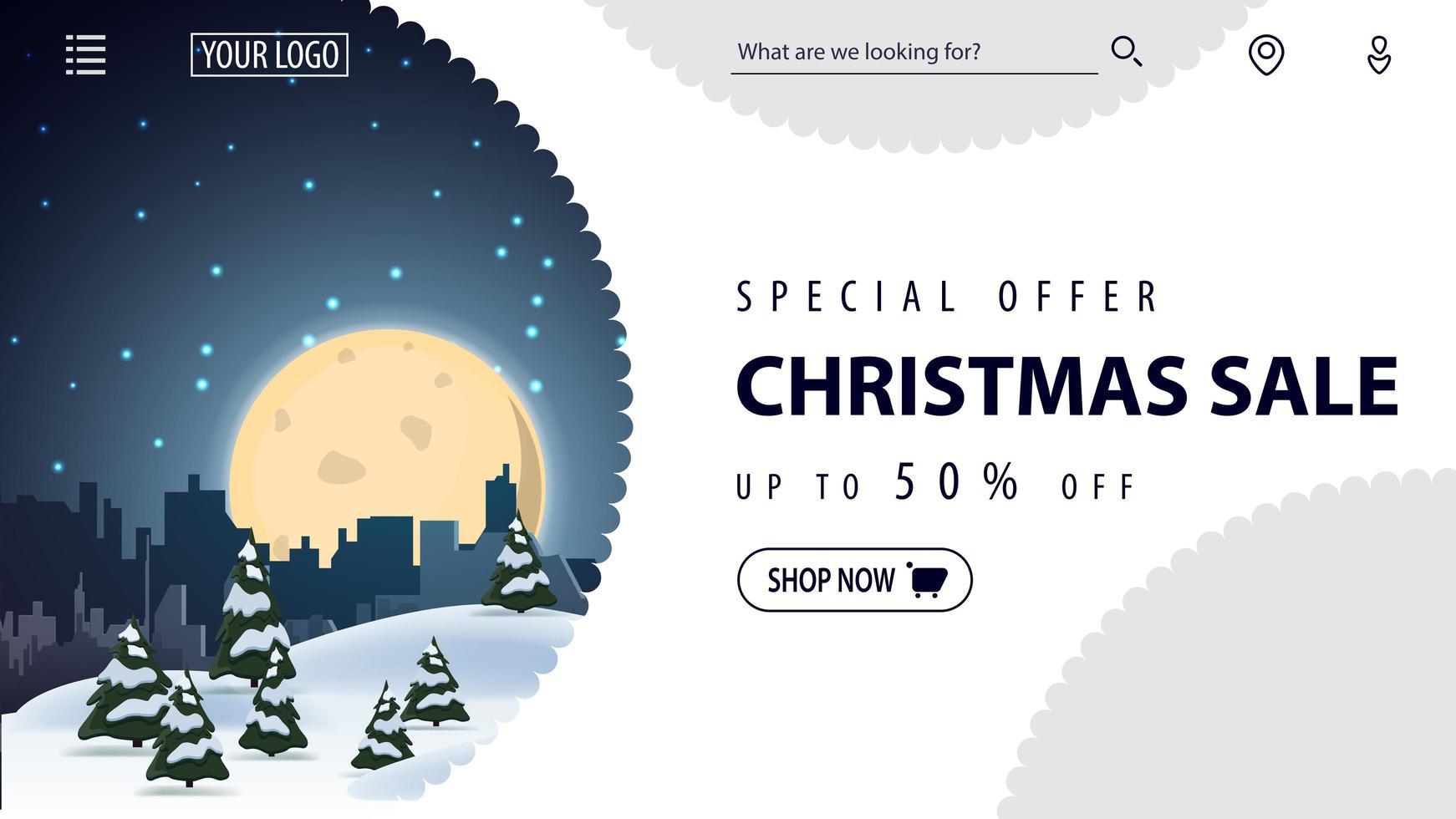 Sonderangebot, Weihnachtsverkauf, bis zu 50 Rabatt, schönes weißes Rabatt-Banner für Website im minimalistischen weißen Stil mit Winterlandschaft auf Hintergrund vektor