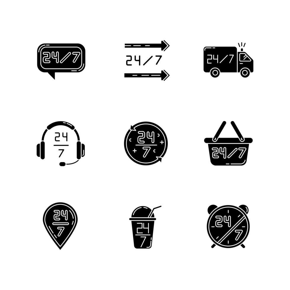 24 schwarze Glyphen-Symbole für 7-Stunden-Service auf Leerzeichen. immer verfügbarer Helpdesk. siebenundzwanzig Lieferung. Transport LKW Zeichen. Silhouette Symbole. Vektor isolierte Illustration