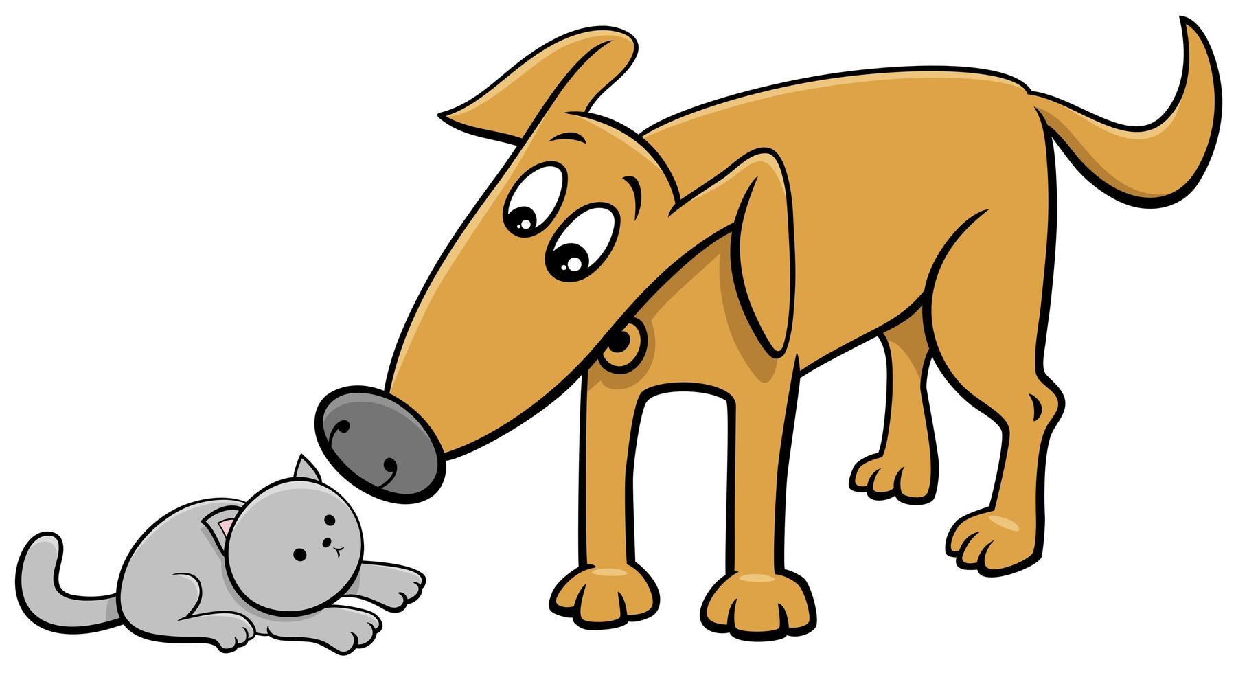 rolig hund och liten kattunge tecknad illustration vektor