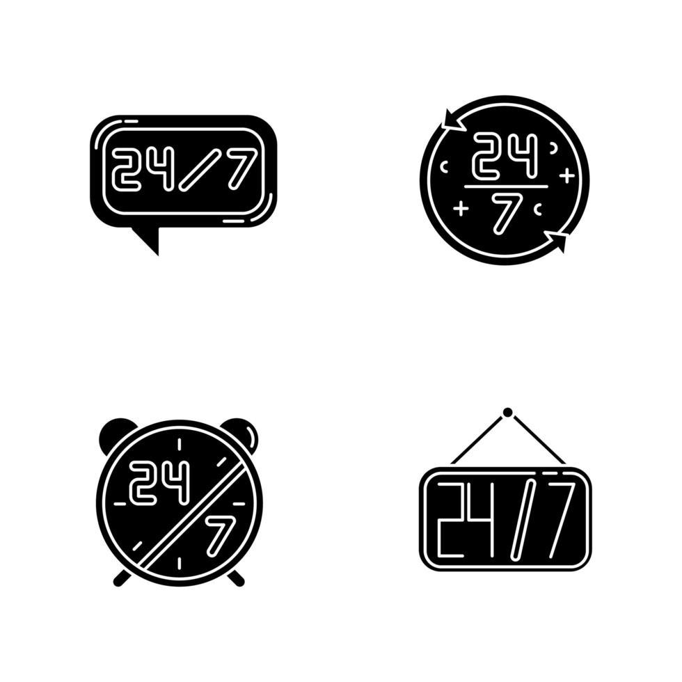 24 schwarze Glyphen-Symbole für 7-Stunden-Service auf Leerzeichen. Online-Kundenbetreuung den ganzen Tag. 24 Stunden Call Center. Wecker mit Zahlen. Silhouette Symbole. Vektor isolierte Illustration