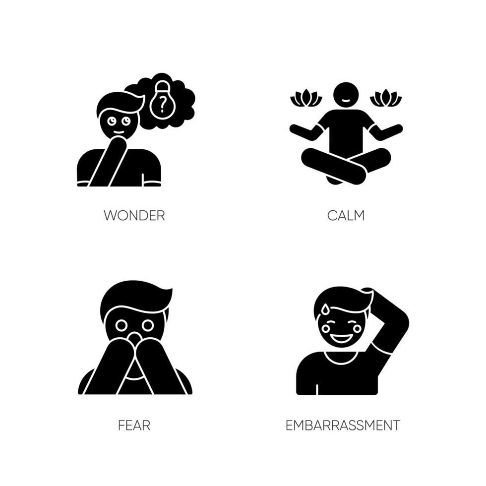 mentala tillstånd svart glyph ikoner som på vitt utrymme vektor