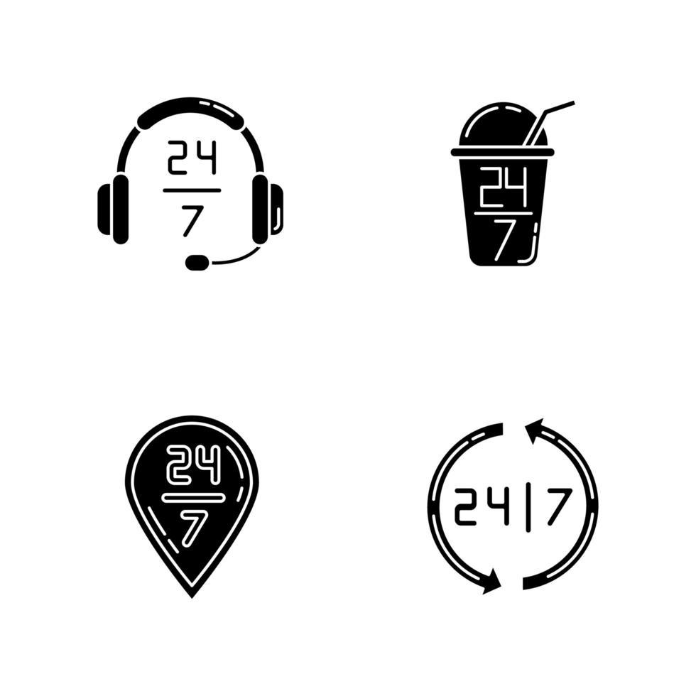 24 schwarze Glyphen-Symbole für 7-Stunden-Service auf Leerzeichen. Headset Zeichen der Kundenbetreuung. siebenundzwanzig offene Bar. Lieferung den ganzen Tag verfügbar. Silhouette Symbole. Vektor isolierte Illustration