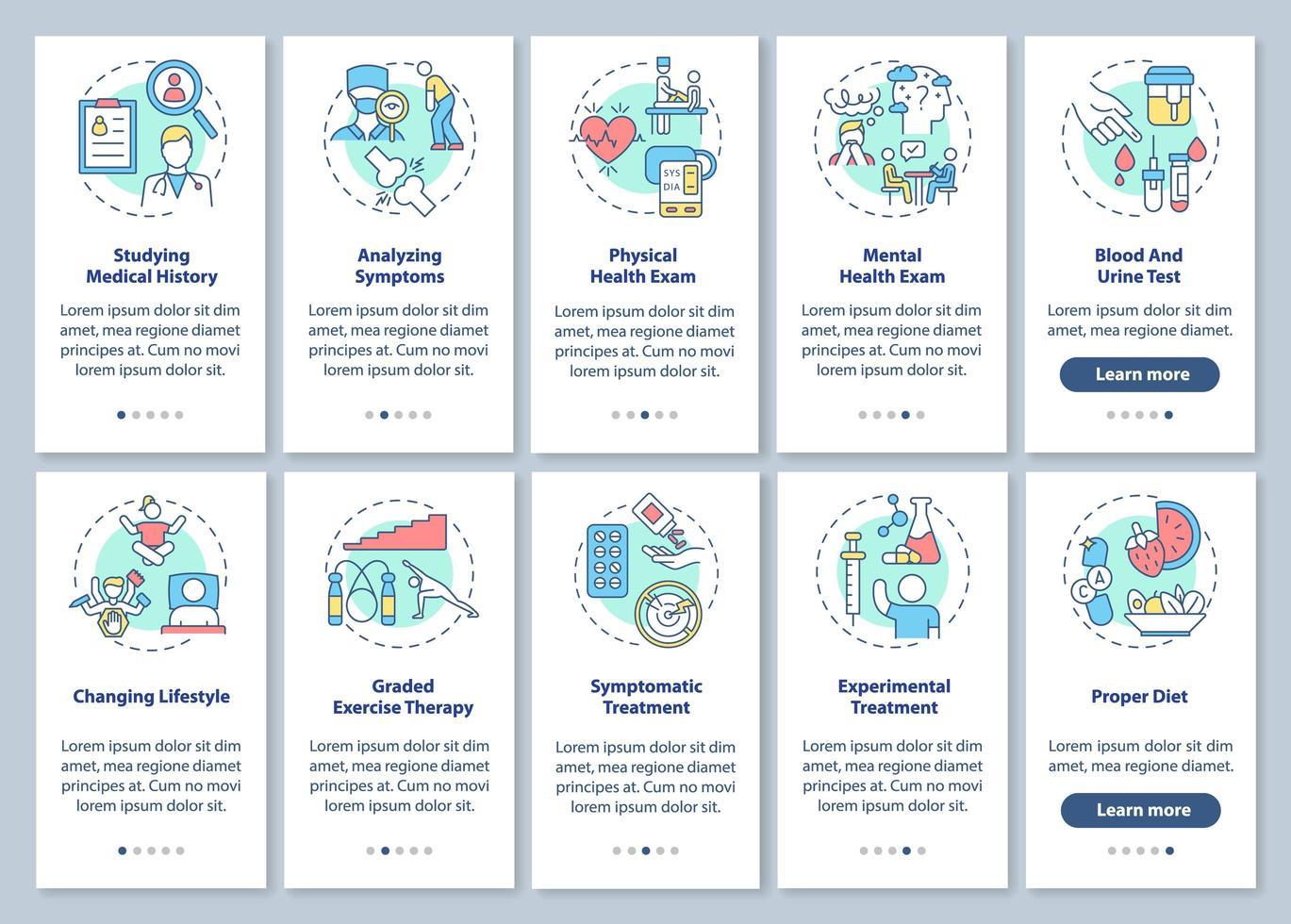 Diagnose des chronischen Müdigkeitssyndroms Onboarding des Bildschirms der mobilen App-Seite mit festgelegten Konzepten vektor
