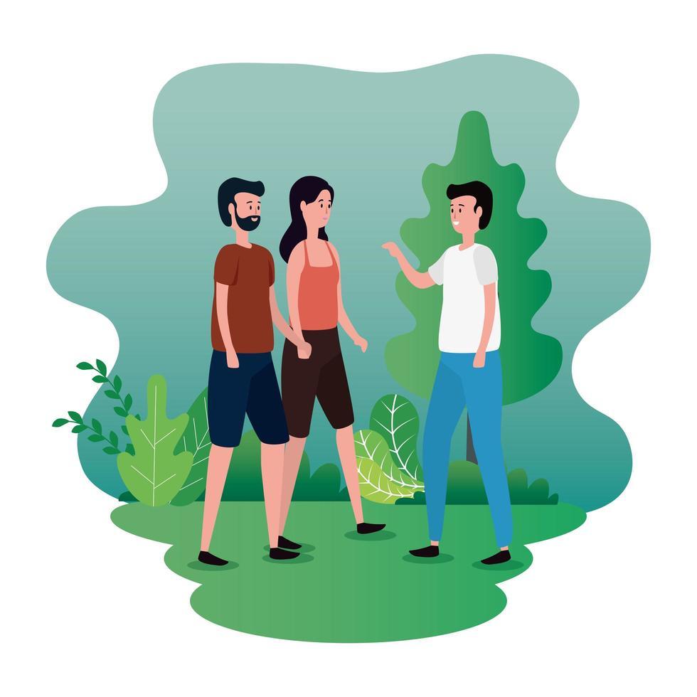grupp människor på parkens karaktärer vektor