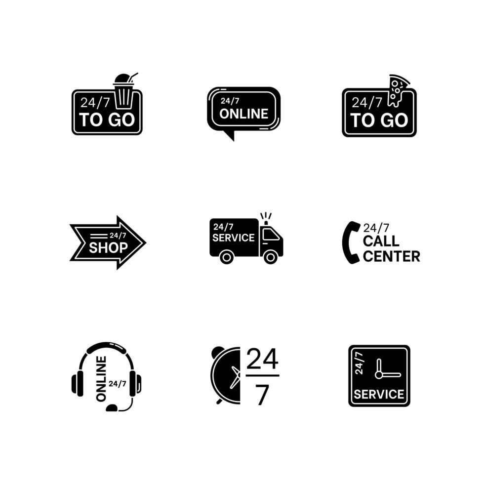24 schwarze Glyphen-Symbole für 7-Stunden-Service auf Leerzeichen. Online 24 Stunden Kundenbetreuung. täglich verfügbare Lieferung. Transport LKW Zeichen. Silhouette Symbole. Vektor isolierte Illustration
