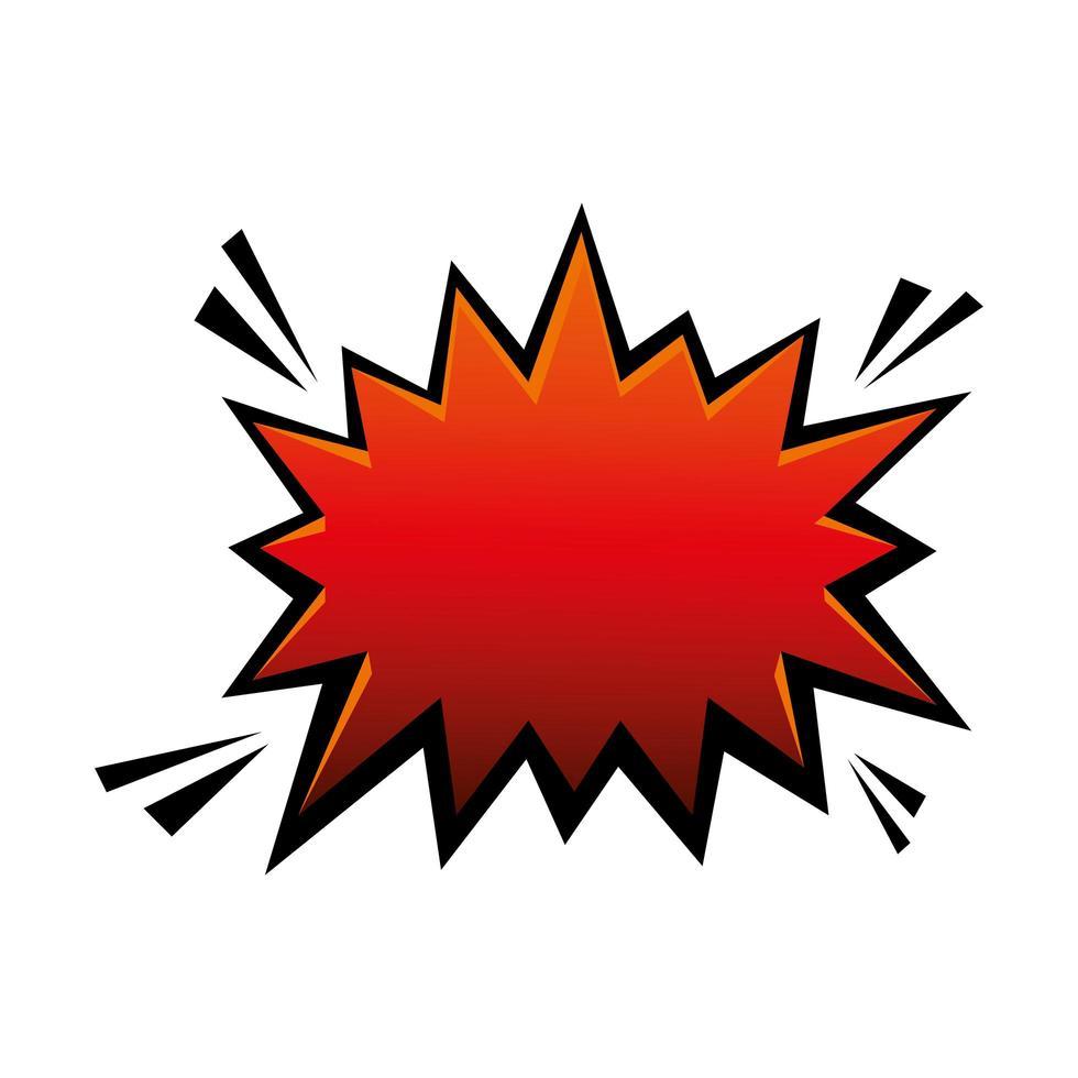 explosion röd färg popkonst stilikon vektor