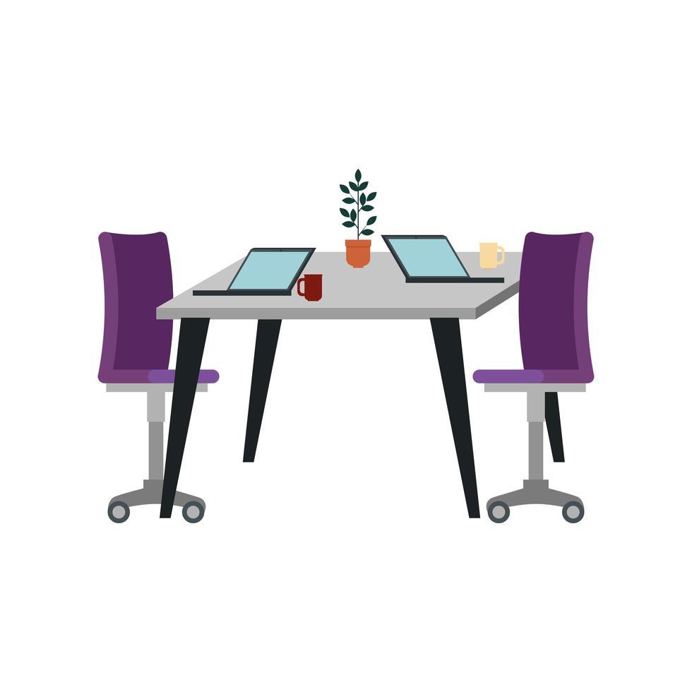 Bürostuhl mit Schreibtisch und Laptop vektor