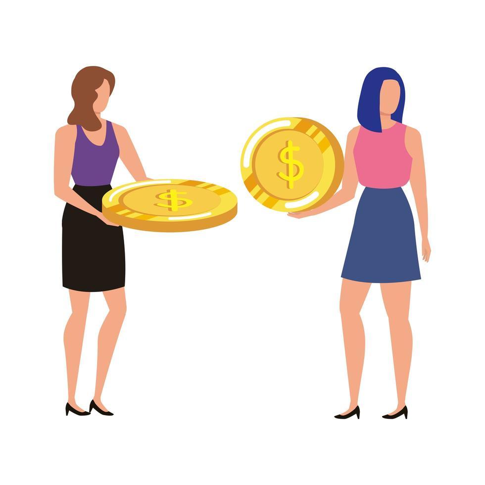 unga kvinnor med mynt dollar tecken vektor