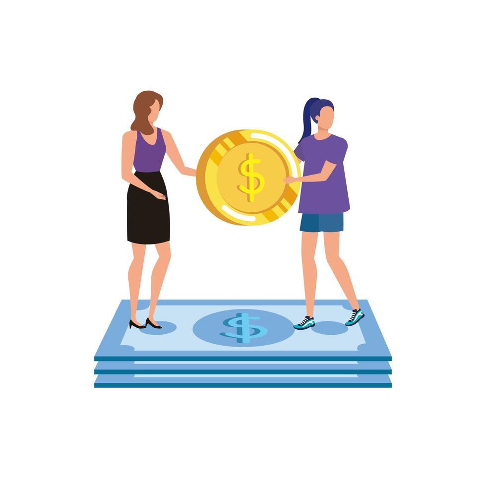 unga kvinnor med mynt och sedlar dollar tecken vektor