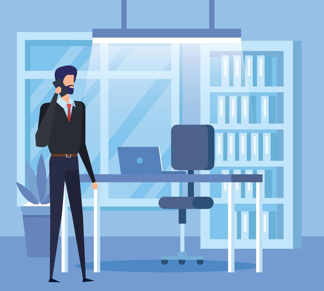 eleganter Geschäftsmann, der mit Smartphone im Büro anruft vektor