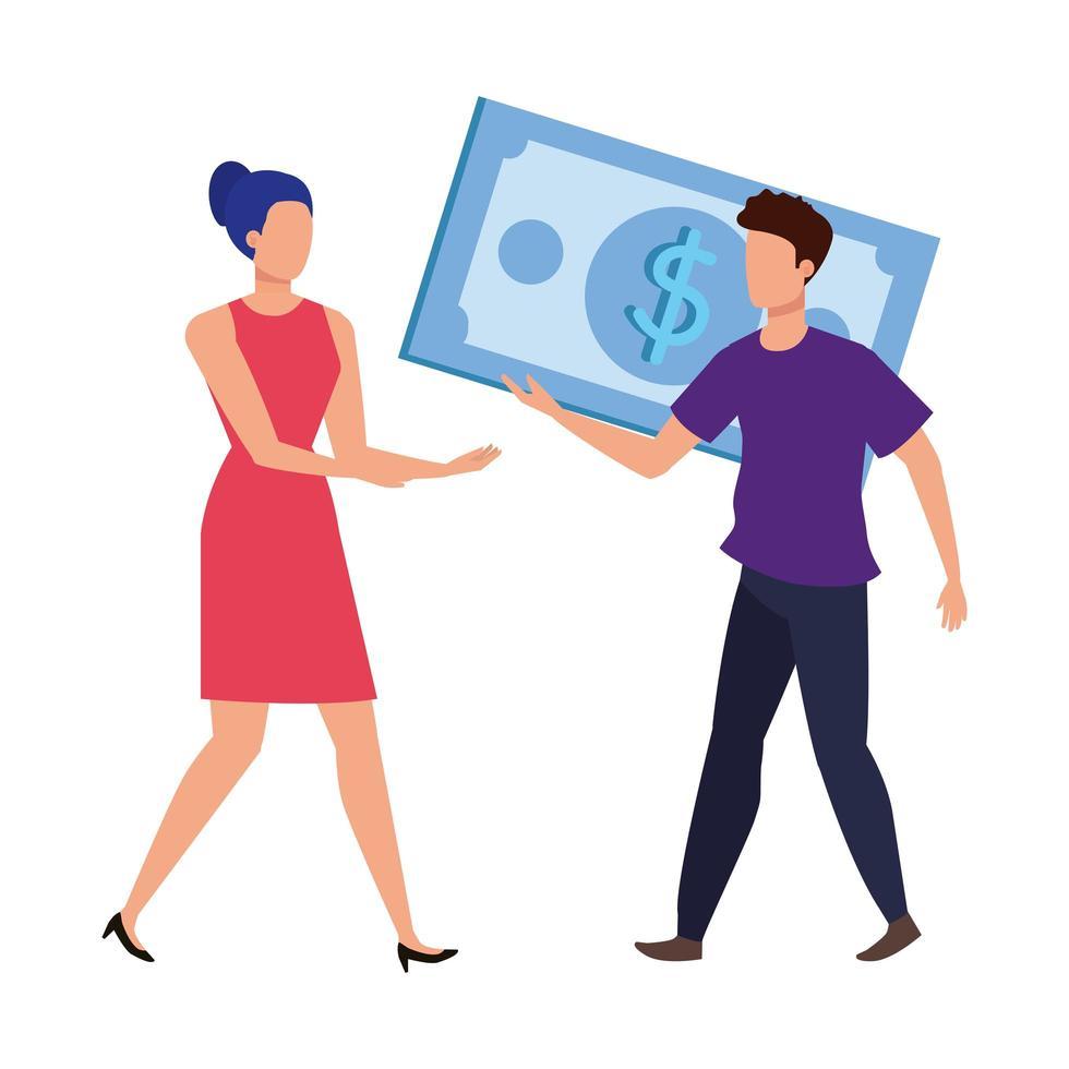 ungt par med räkningar dollar tecken vektor