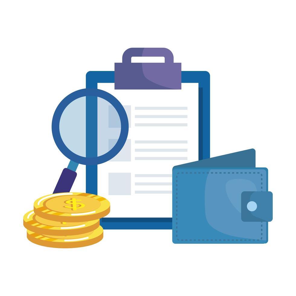 checklista urklipp med plånbok och förstoringsglas vektor