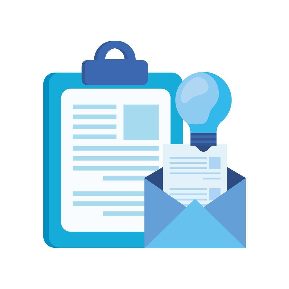 Checkliste Zwischenablage mit Briefumschlag vektor