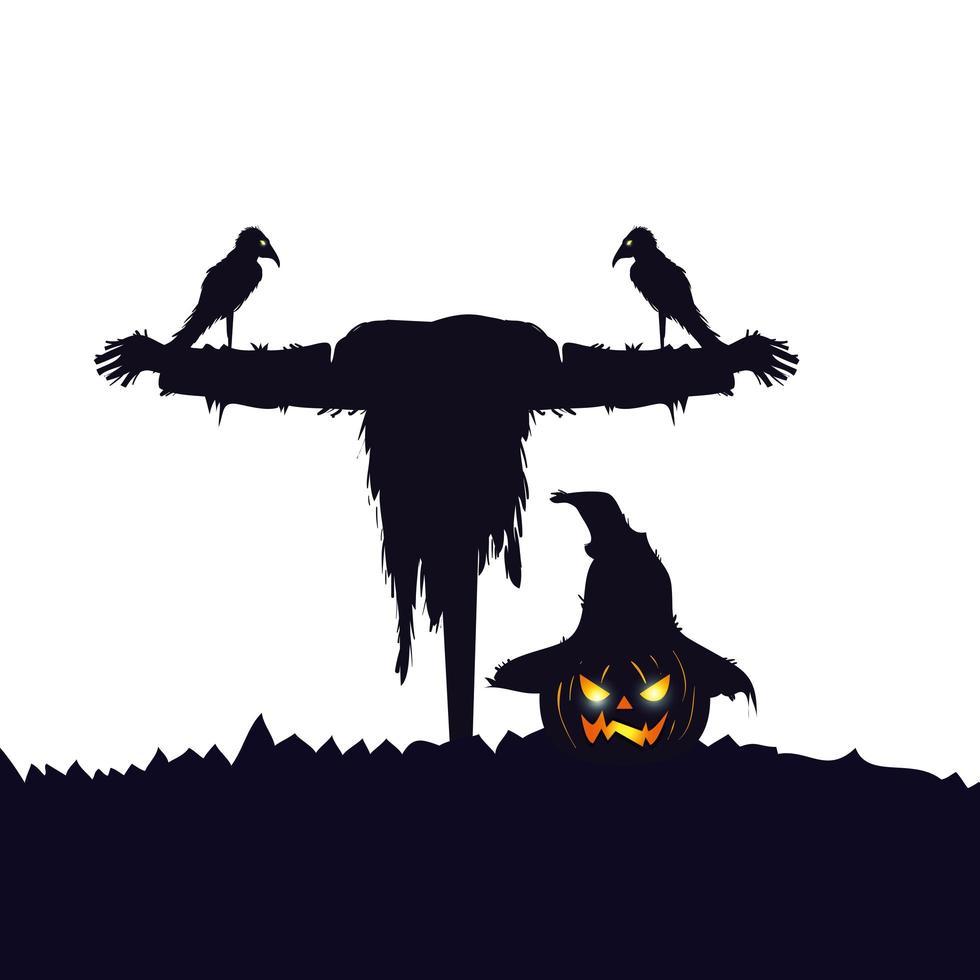 fågelskrämma halloween med korp isolerade ikon vektor
