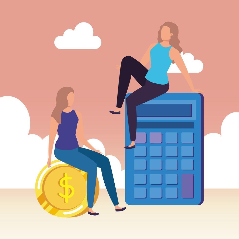 unga kvinnor med miniräknare vektor
