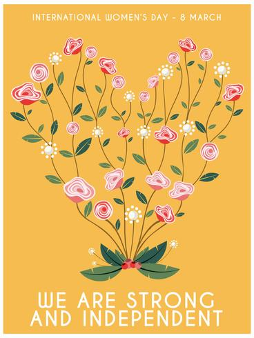 Internationales Frauen-Tagesblumen-Herz-Plakat vektor