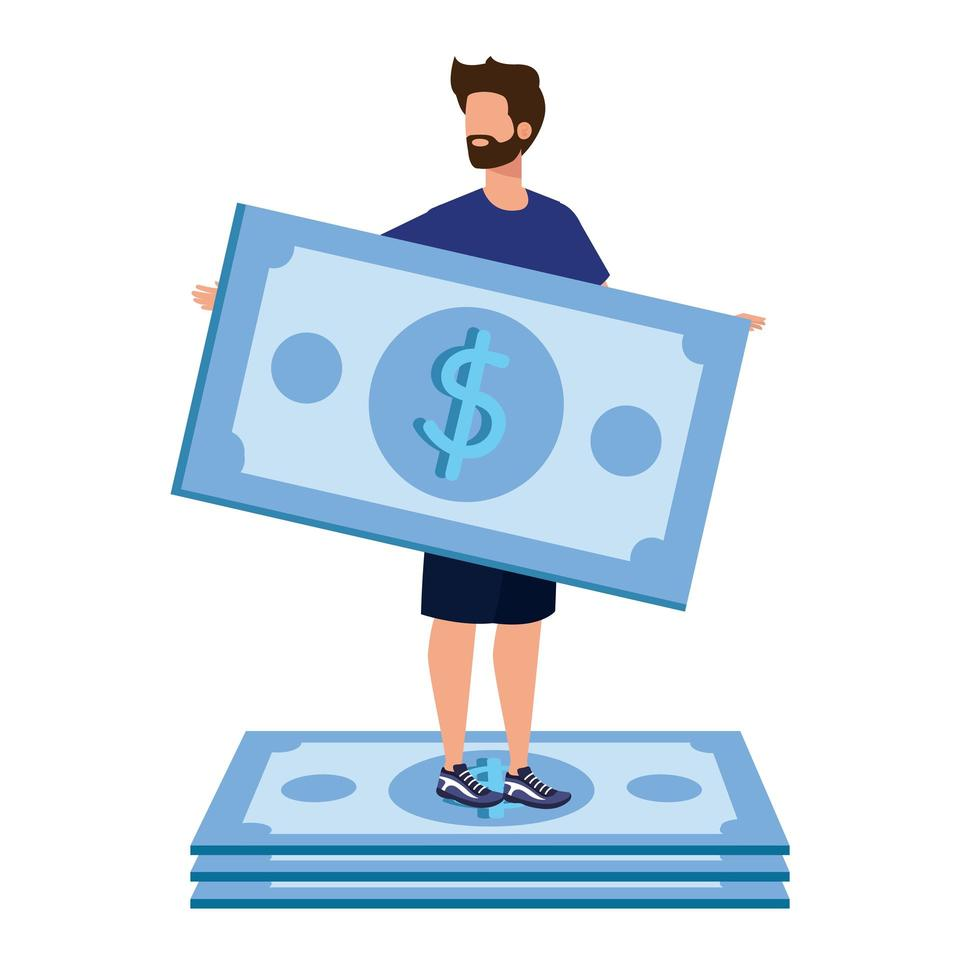 ung man med räkningar dollar karaktär vektor