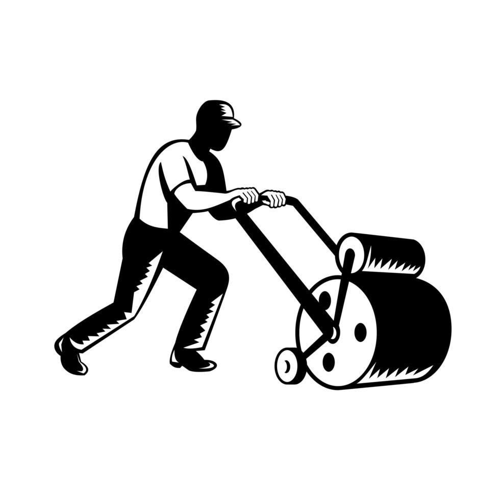trädgårdsmästare trädgårdsskötsel trädgårdsmästare eller jordbrukare som skjuter gräsmattan rullar träsnitt svartvitt vektor