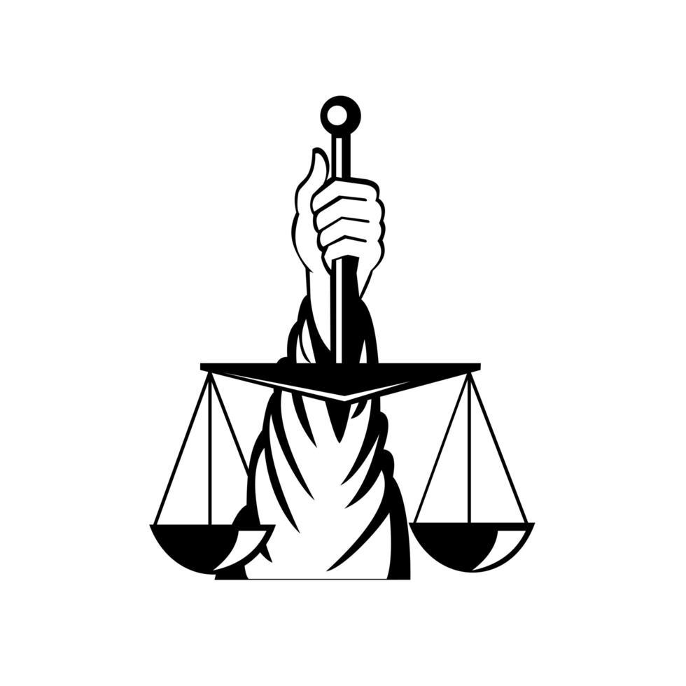 hand of lady of justice håller vägningsskala retro svartvitt vektor