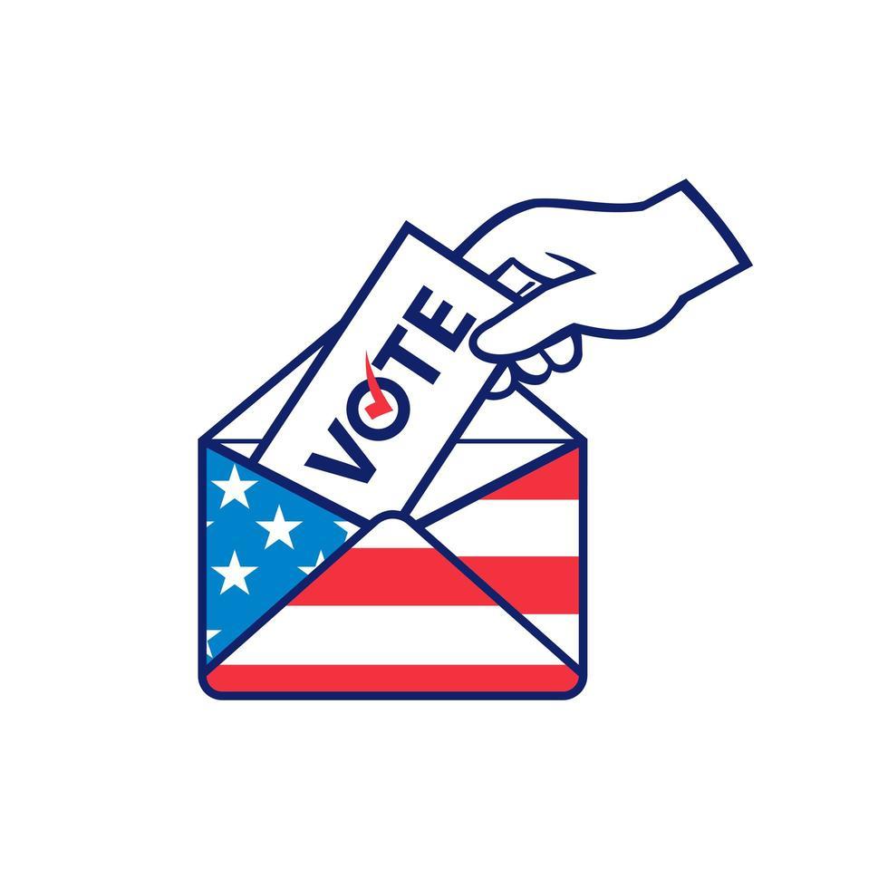Amerikanischer Wähler, der Briefwahl während der Wahl USA-Flaggenumschlag Retro postiert vektor