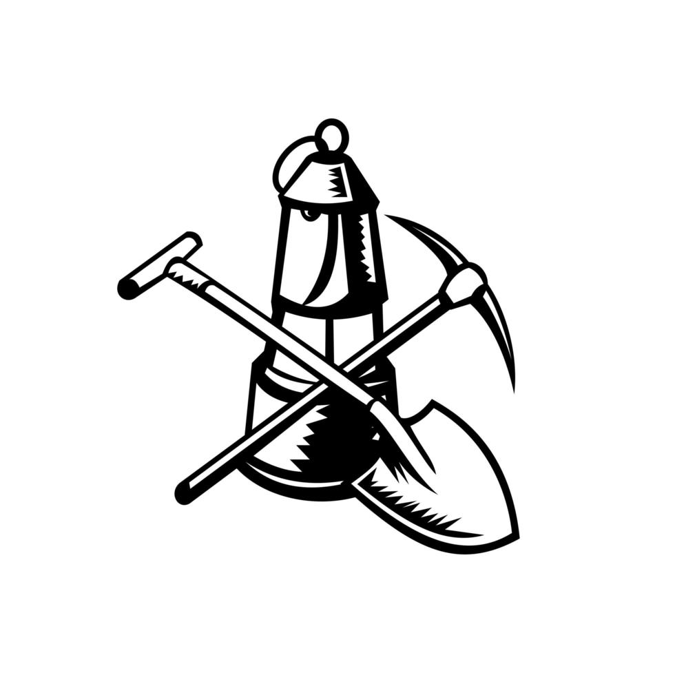 vintage kol gruvarbetare lampa eller davy lampa med korsad spade och pickax retro träsnitt svart och vitt vektor