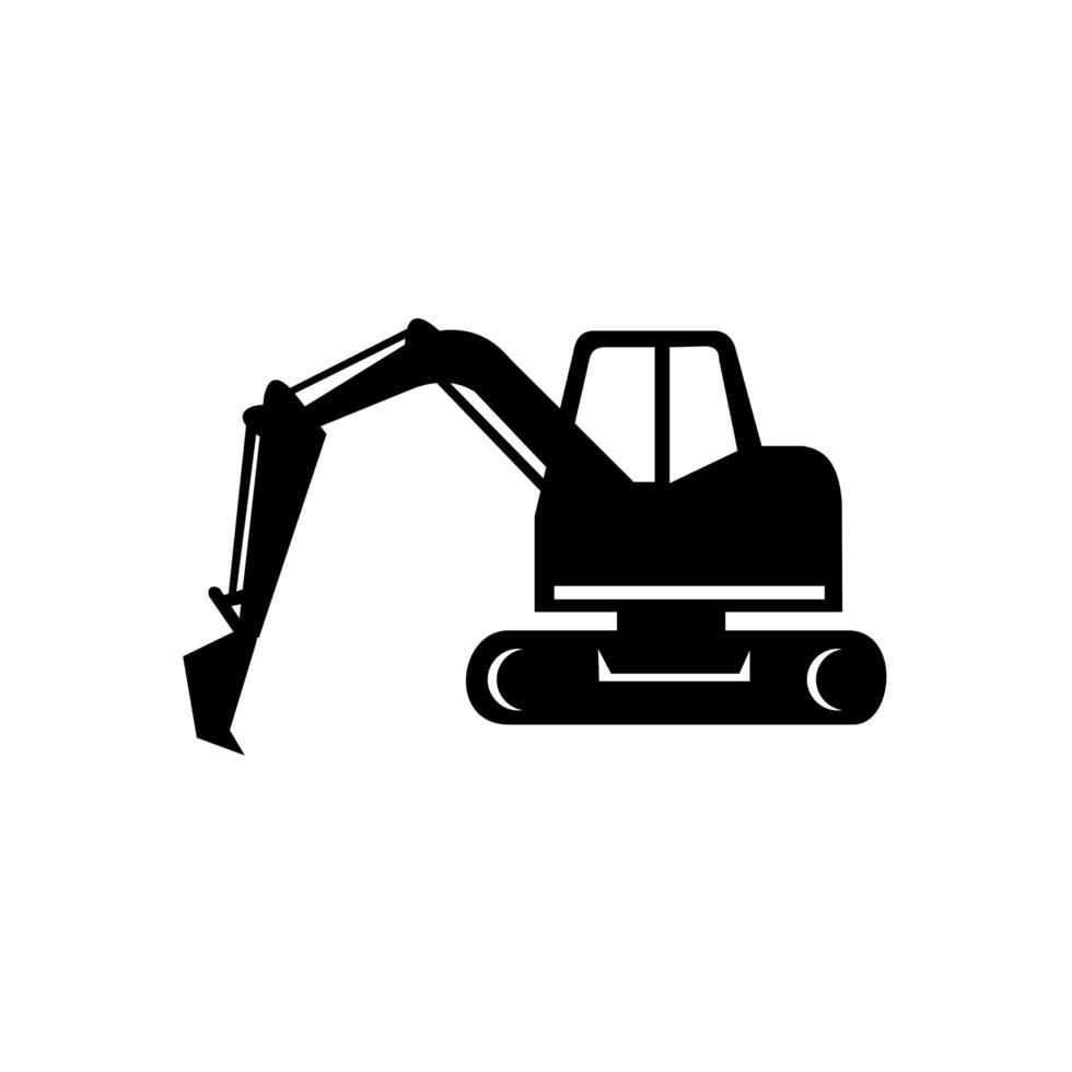 mekanisk grävare eller grävmaskin ikon svartvitt vektor