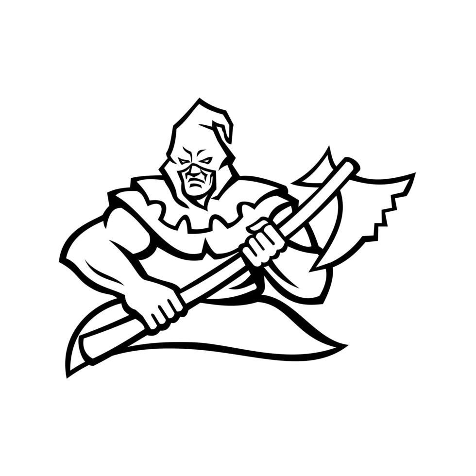 mittelalterlicher Henker mit Kapuze, der das Axtmaskottchen schwarz und weiß trägt vektor