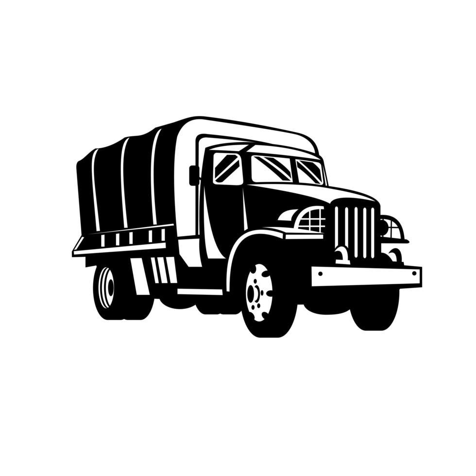 militär lastbil militärfordon personal transporterar retro träsnitt svartvitt vektor
