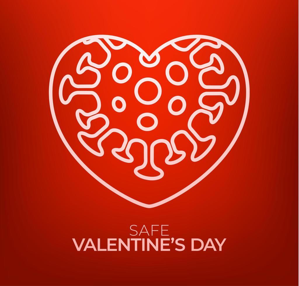 säkert alla hjärtans dag koncept. röd valentine kärlek hjärta och karantän biohazard fara. coronavirus covid och älskar hjärta. vektor illustration