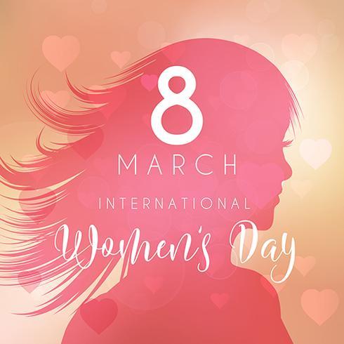 Kvinnors dag bakgrund med kvinnlig silhuett vektor