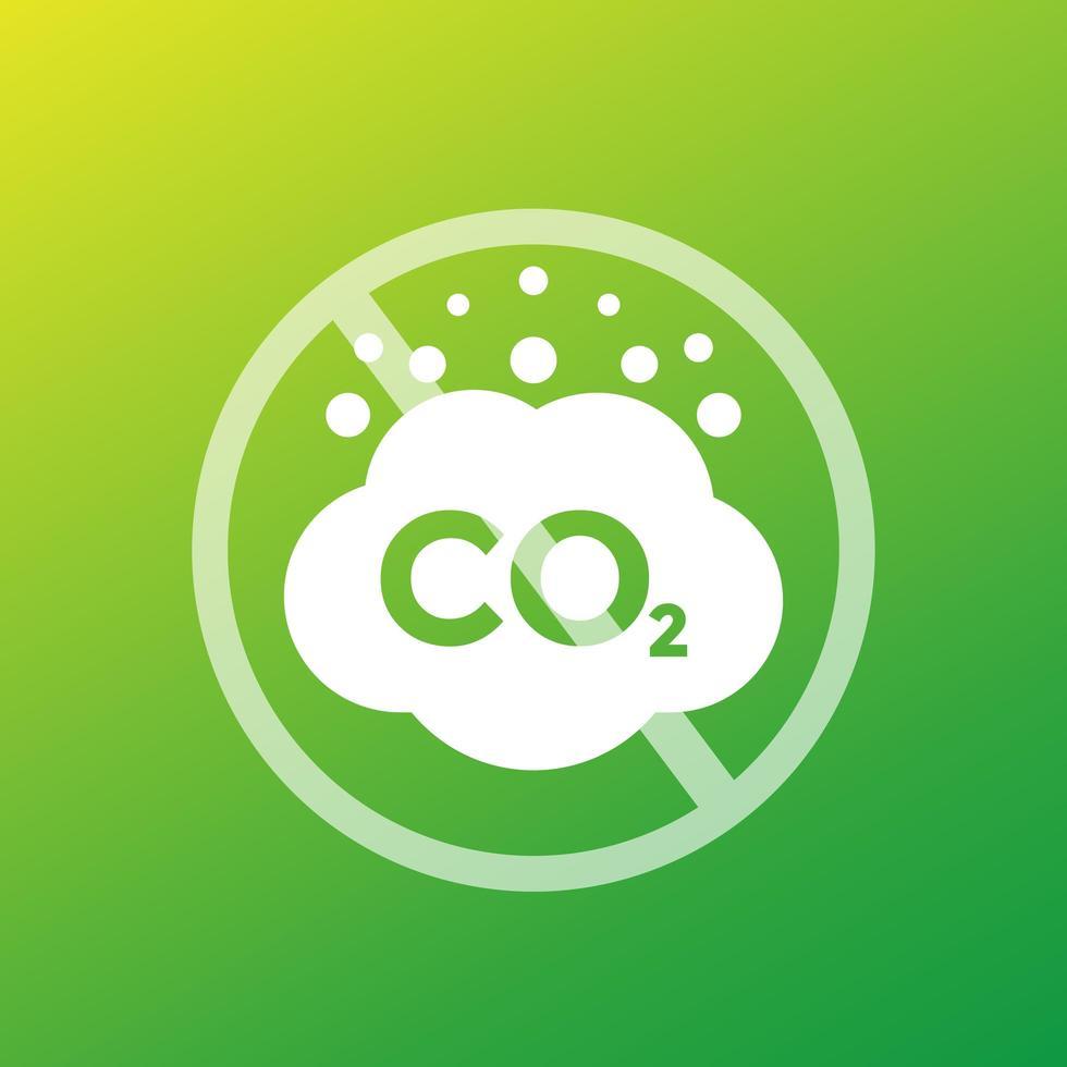 kein CO2 und Stopp-CO2-Emissionsvektorzeichen vektor