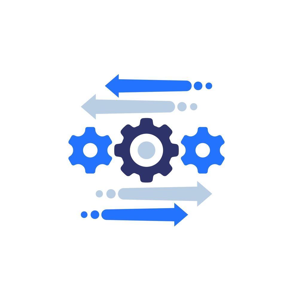 automatiserings- och optimeringsprocessikon på vitt vektor