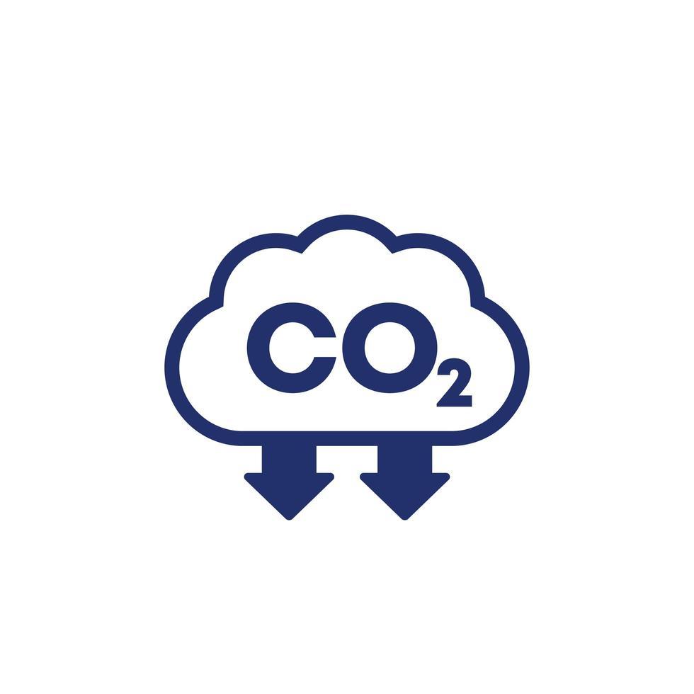 CO2, Vektorikone zur Reduzierung der Kohlenstoffemission vektor