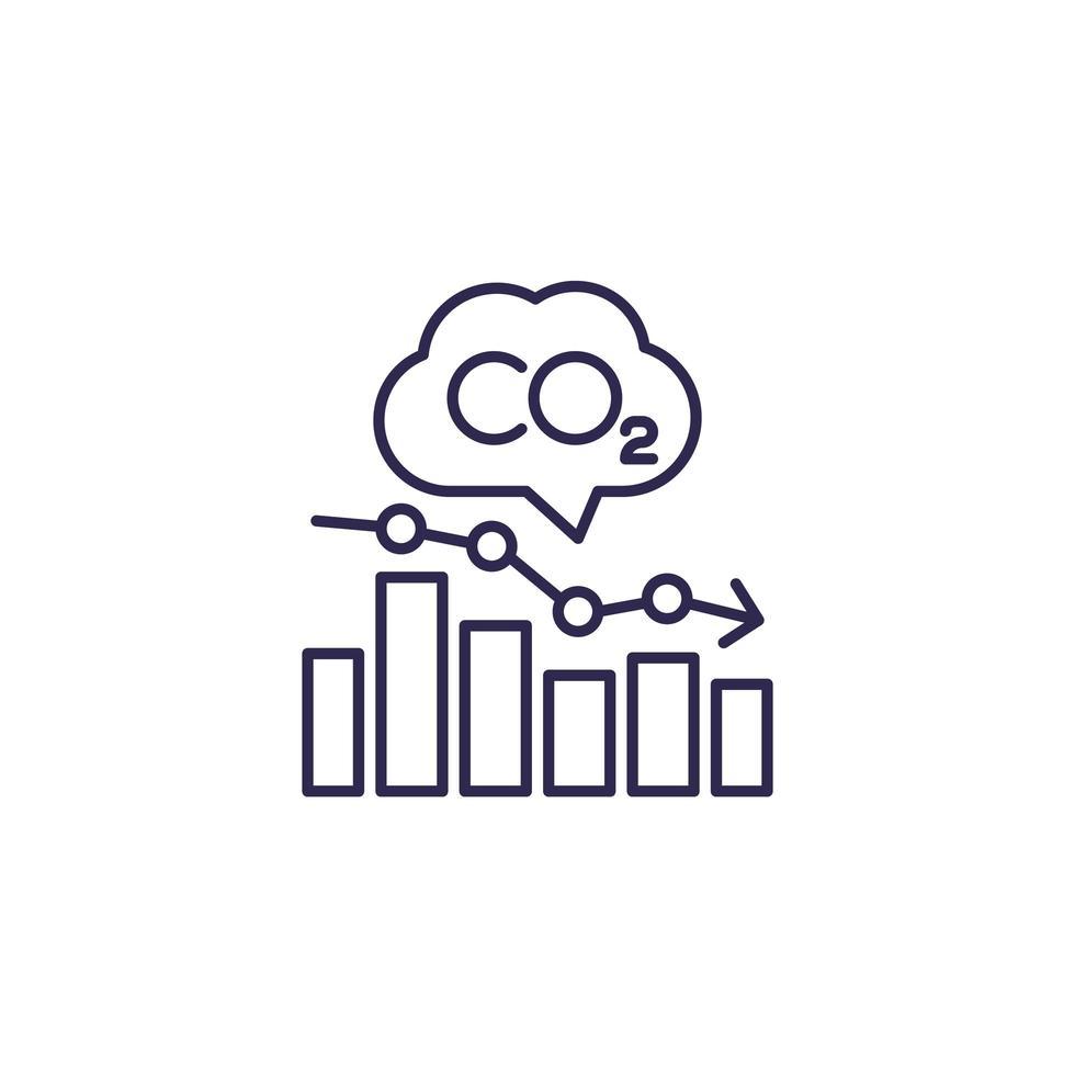 CO2, Diagramm der Kohlenstoffemissionswerte Diagrammlinie vektor