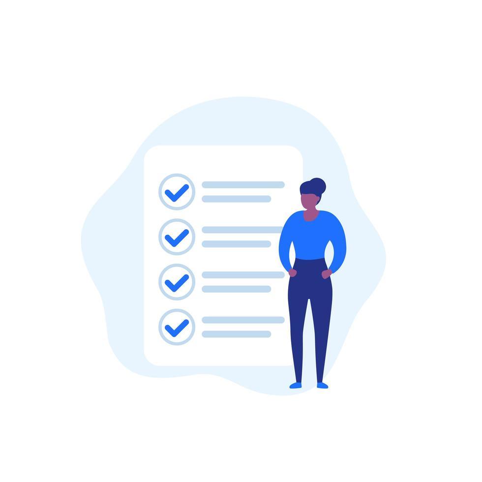 slutförd uppgift, att göra-lista, kvinna och checklista, vektor ikon
