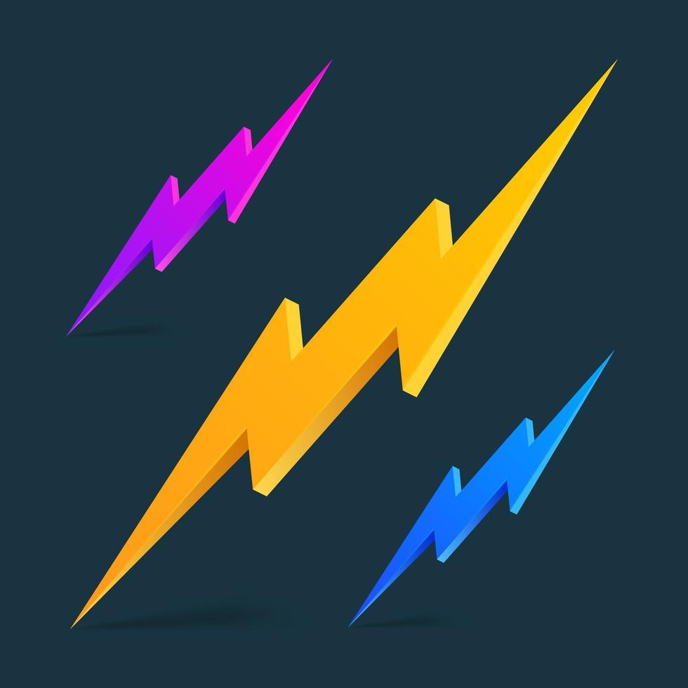 blixt 3d ikon blixt tema på en svart bakgrund för en rabatterad banner som säljer produkter. vektor