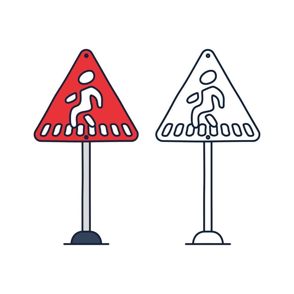 övergångsställe varningstecken, röd triangel skylt med övergångsställe symbol, vektorillustration. vektor
