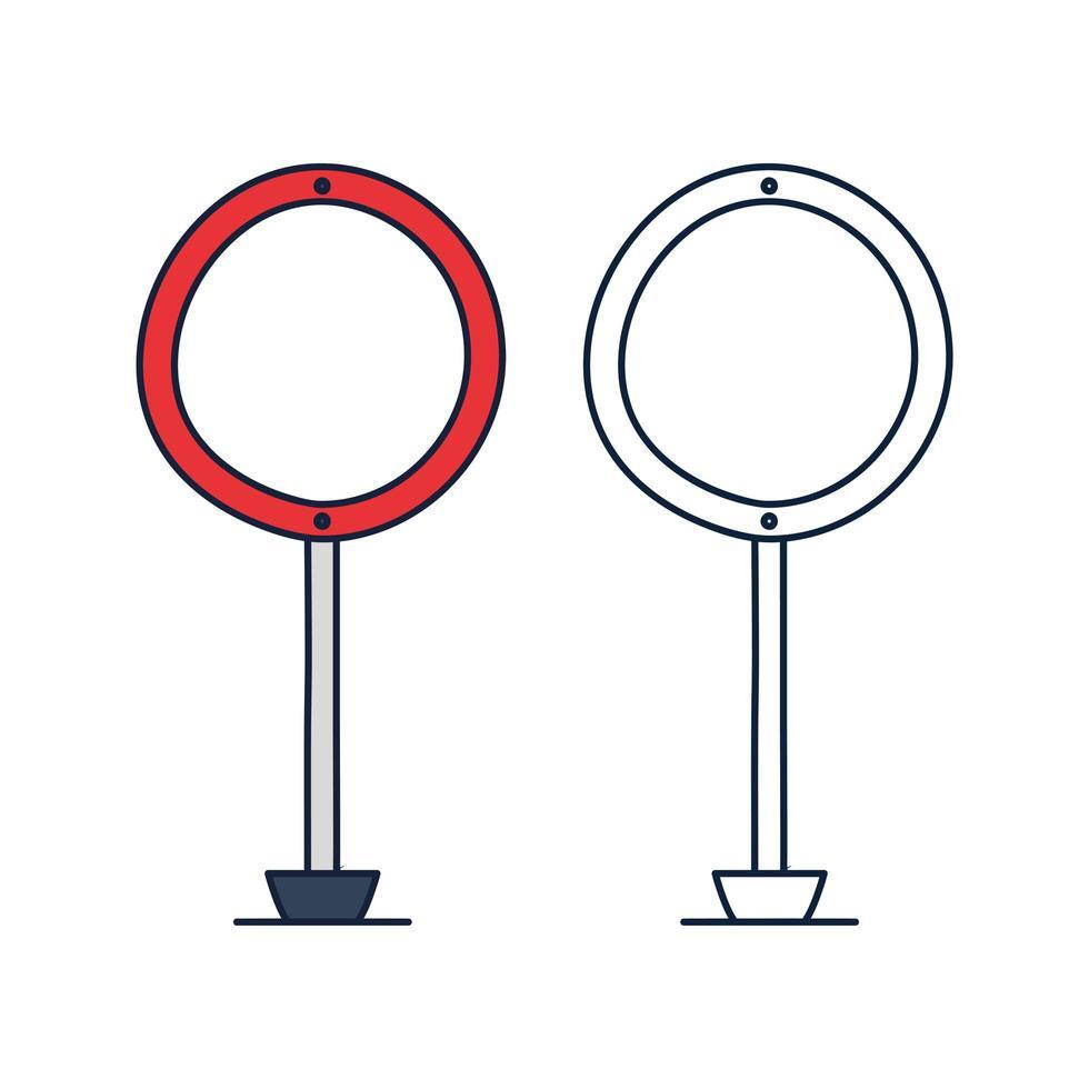 cirkel väg trafik skylt vektor ikon i disposition doodle stil. tomt bräde med plats för text isolerad på vit information tecken vektorillustration.