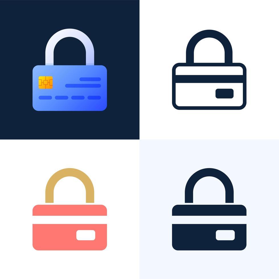 hänglås med kreditkort vektor lager ikonuppsättning. begreppet skydd, säkerhet, tillförlitlighet hos ett bankkonto. framsidan av kortet med ett stängt lås.