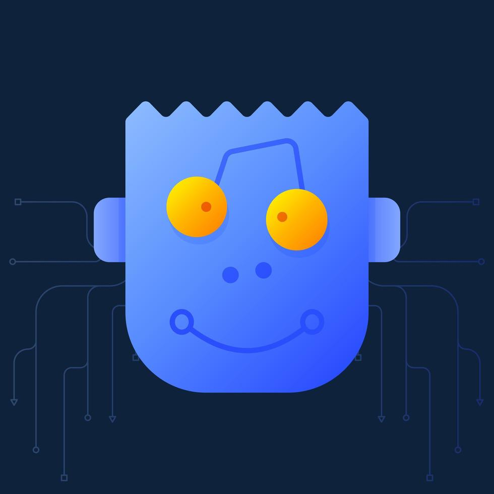 söt tecknad av ett robothuvud. ett kreativt söt tecknad robothuvud vektor