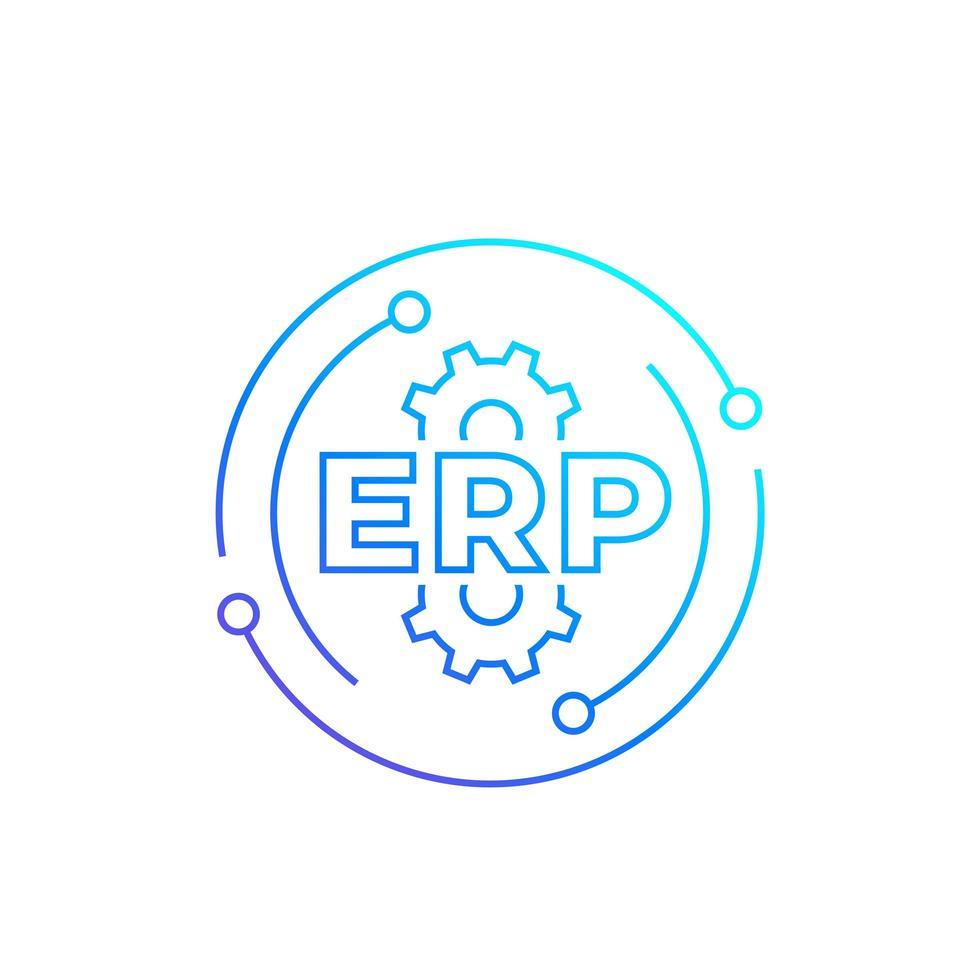 ERP, företagsresursplanering, linjevektorikonen vektor