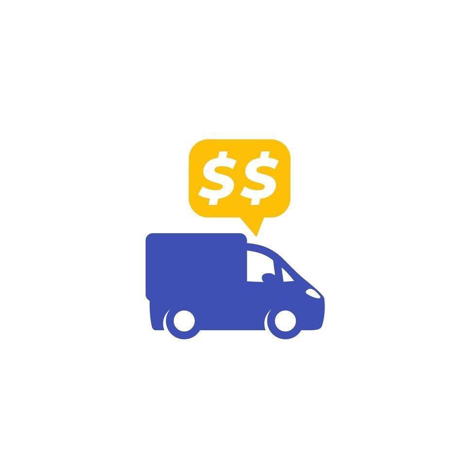 transportkostnader, vektor ikon på vitt