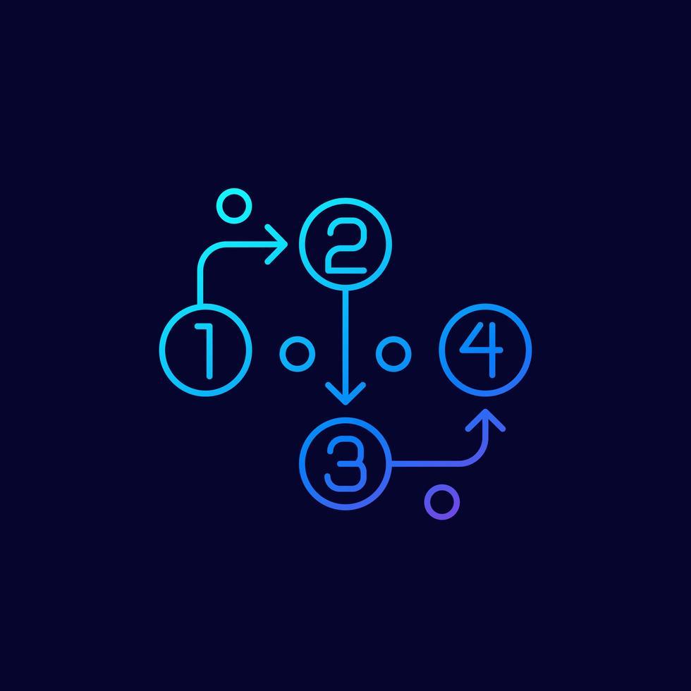 metod linjär ikon på mörkret vektor