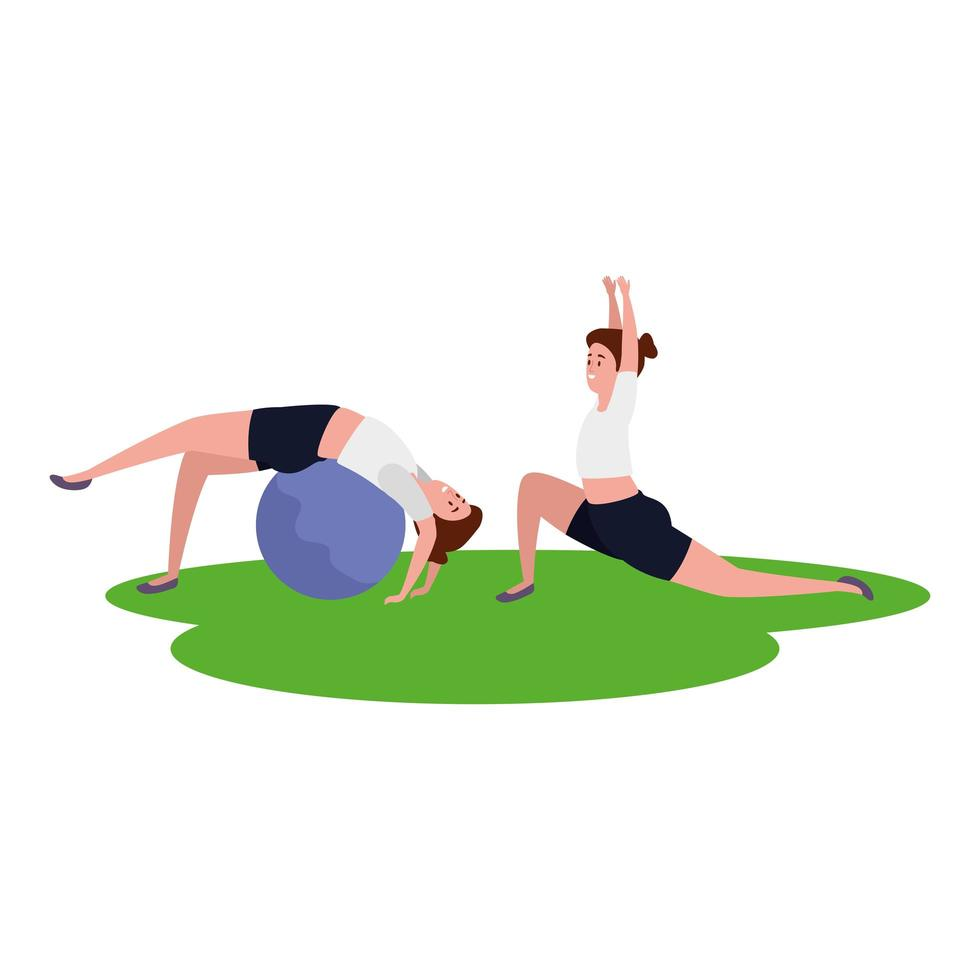 skönhet flickor par öva pilates med ballong i gräs vektor