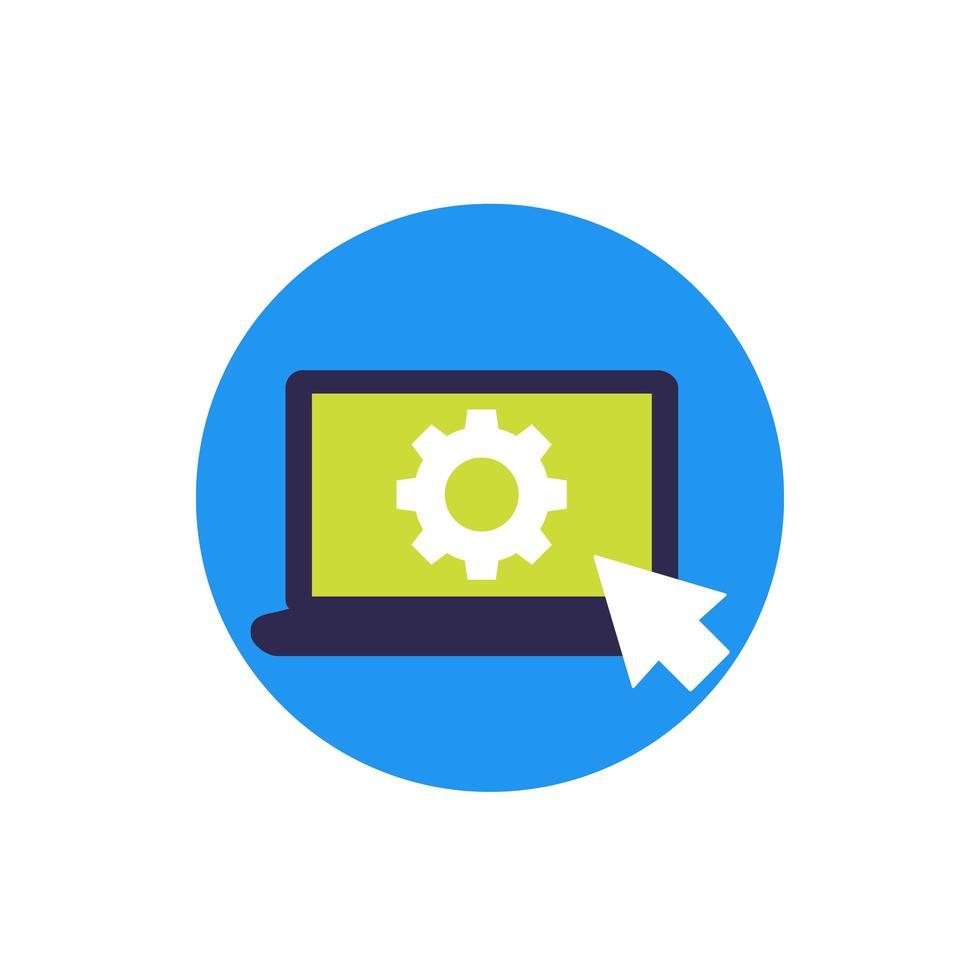 Einstellungen, Optionssymbol mit Ausrüstung auf dem Bildschirm vektor