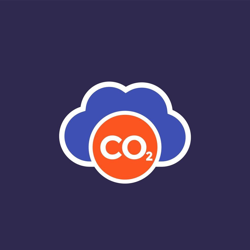 CO2, Kohlenstoffemissionswolke, flache Vektorikone vektor